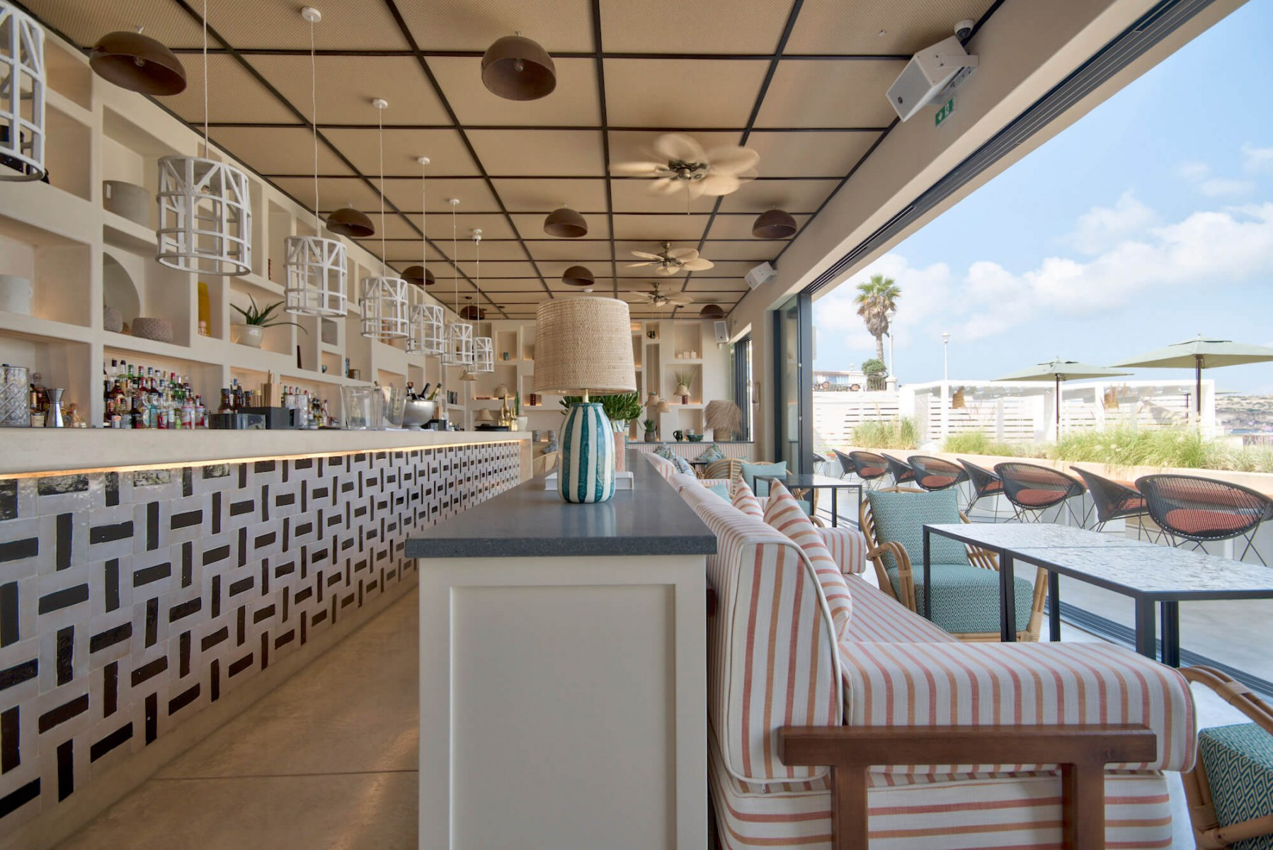 Pietra Lavica Tops at Beef Bar, by Halmann Vella