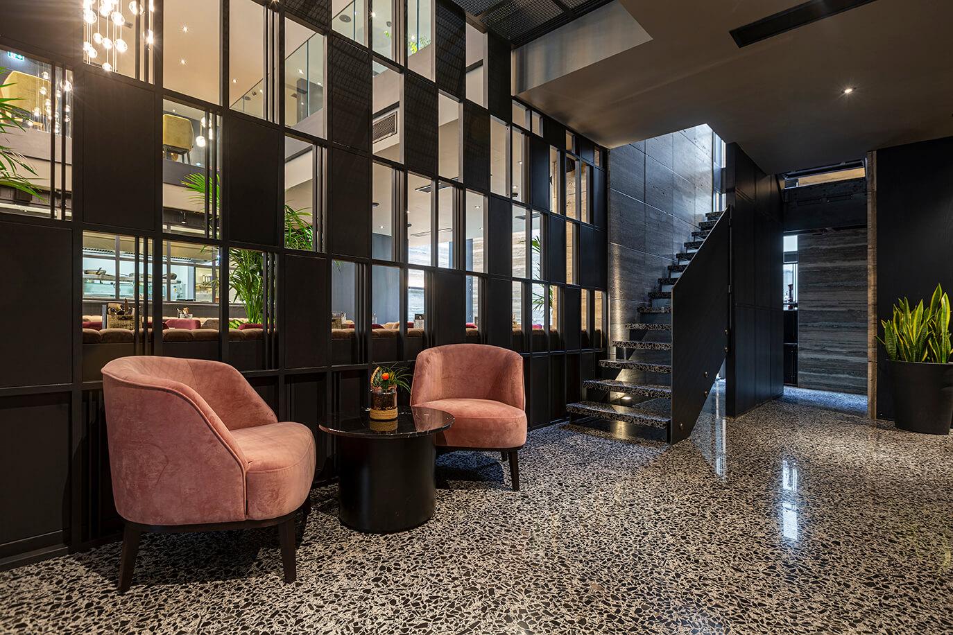 03 urban hotel – halmannvella – architectural terrazzo – black tiles